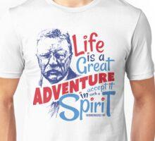 Life Adventure Spirit Theodore Roosevelt Red Blue Unisex T-Shirt