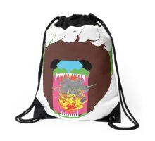 Flaming Bear Design Drawstring Bag
