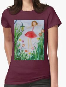 Girl balancing  Womens Fitted T-Shirt