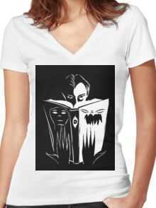 black and white book Women's Fitted V-Neck T-Shirt