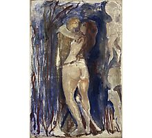 Edvard Munch - Death And Life. Vintage Expressionism, oil famous painting : sensual woman, woman and man, kiss, kissing lovers, relations, lovely couple, family. Photographic Print