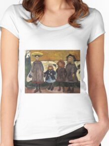 Edvard Munch - Four Girls. Expressionism Women's Fitted Scoop T-Shirt