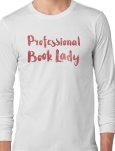 professional book lady in red watercolor Long Sleeve T-Shirt