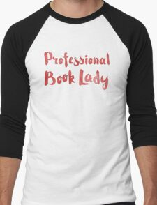 professional book lady in red watercolor Men's Baseball ¾ T-Shirt