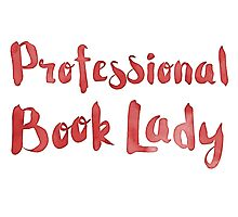 professional book lady in red watercolor Photographic Print