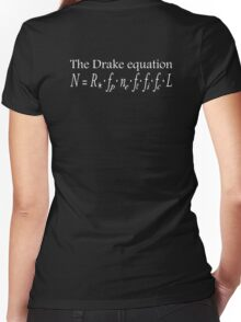 The Drake equation, UFO, SETI, Alien, search for extraterrestrial life, Contact, Is there anyone there? White Type Women's Fitted V-Neck T-Shirt