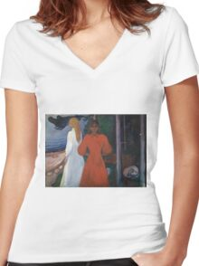 Edvard Munch - Red And White. Munch - woman portrait. Women's Fitted V-Neck T-Shirt