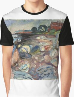 Edvard Munch - Shore With Red House. Munch - seashore landscape. Graphic T-Shirt