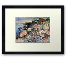 Edvard Munch - Shore With Red House. Munch - seashore landscape. Framed Print