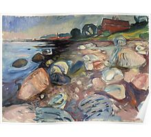 Edvard Munch - Shore With Red House. Munch - seashore landscape. Poster