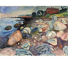 Edvard Munch - Shore With Red House. Munch - seashore landscape. Photographic Print