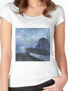 Edvard Munch - Starry Night. Munch - seashore landscape. Women's Fitted Scoop T-Shirt