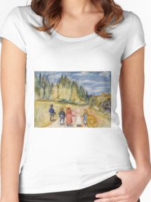 Edvard Munch - The Fairytale Forest. Munch - child portrait. Women's Fitted Scoop T-Shirt