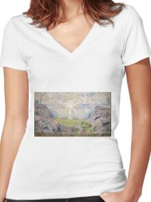 Edvard Munch - The Sun. Munch - sea landscape. Women's Fitted V-Neck T-Shirt