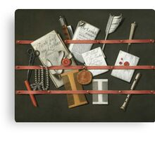 Edwaert Collier  - STill Life A Letter Rack.  Collier  - still life with  Letter. Canvas Print