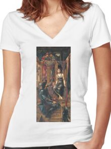 Edward Burne-Jones  - King Cophetua And The Beggar Maid 1884. Burne-Jones  - people portrait. Women's Fitted V-Neck T-Shirt