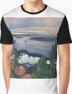 Edvard Munch - Train Smoke. Munch - lake landscape. Graphic T-Shirt