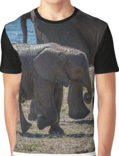 Baby elephant walking with mother beside river Graphic T-Shirt