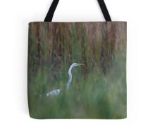Great Egret amongst the reeds Tote Bag