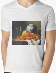 Edward Ladell - Shrimps, A Peeled Lemon, A Glass Of Wine. Edward Ladell - still life with fruits and glass of wine. Mens V-Neck T-Shirt