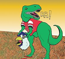 Arsenal Gunnersaurus vs. Chirpy by Jimosabe