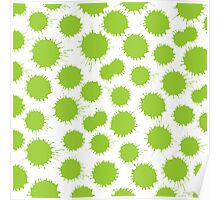 Inky Blots - Martian Green on White Poster