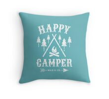 Happy Camper distressed white Throw Pillow