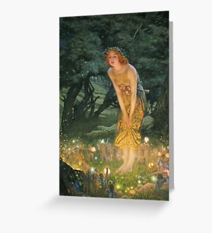 Edward Robert Hughes - Midsummereve.  Robert Hughes - woman portrait. Greeting Card