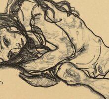 Egon Schiele -  Girl.  Schiele - woman portrait. Sticker