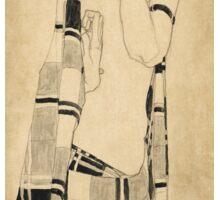 Egon Schiele - Standing Girl. Schiele - woman portrait. Sticker