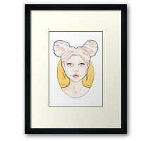 Clio, a Girl with Pink and Blue Streaked Blonde Hair Framed Print
