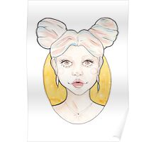 Clio, a Girl with Pink and Blue Streaked Blonde Hair Poster