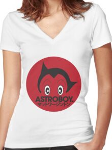 Japanese style astroboy T-shirt Women's Fitted V-Neck T-Shirt