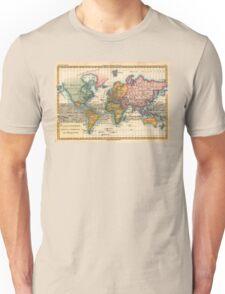 World Map 1700s Antique Vintage Hemisphere Continents Geography Unisex T-Shirt