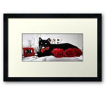 Cat velentines day Framed Print
