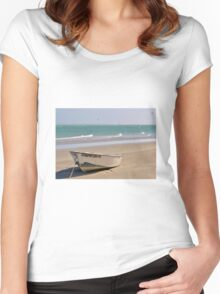 Boat on the beach Women's Fitted Scoop T-Shirt