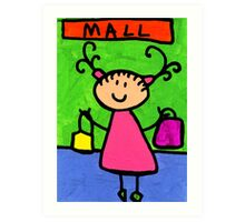 Happi Arti 5 - Shopaholic Little Girl Art Art Print