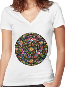 Mexican black pattern Women's Fitted V-Neck T-Shirt