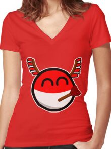 Polandball Women's Fitted V-Neck T-Shirt