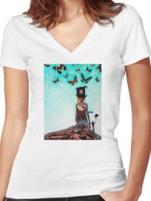 Down The Rabbit Hole - Surrealism Art By Sharon Cummings Women's Fitted V-Neck T-Shirt