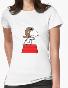 flying pilot snoopy fun Womens Fitted T-Shirt