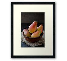 Fresh pears in brown bowl Framed Print
