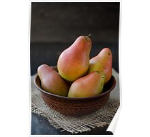 Fresh pears in brown bowl Poster
