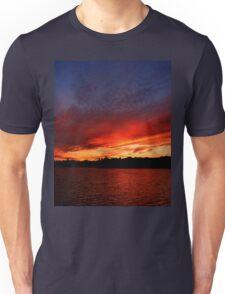 Red Sunset over Blue Sky   Unisex T-Shirt