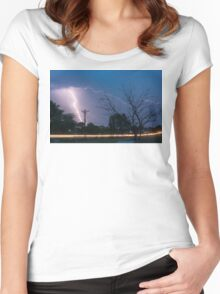17th Street Car Lights and Lightning Strikes Women's Fitted Scoop T-Shirt