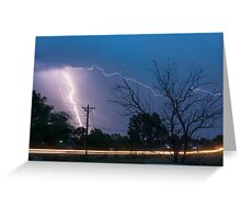 17th Street Car Lights and Lightning Strikes Greeting Card