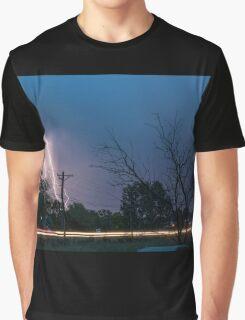 17th Street Neon Lights and Lightning Strikes Graphic T-Shirt