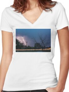 17th Street Neon Lights and Lightning Strikes Women's Fitted V-Neck T-Shirt