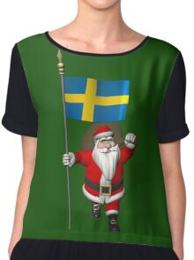 Santa Claus With Flag Of Sweden Women's Chiffon Top