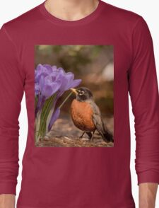 Robin in the spring flowers Long Sleeve T-Shirt